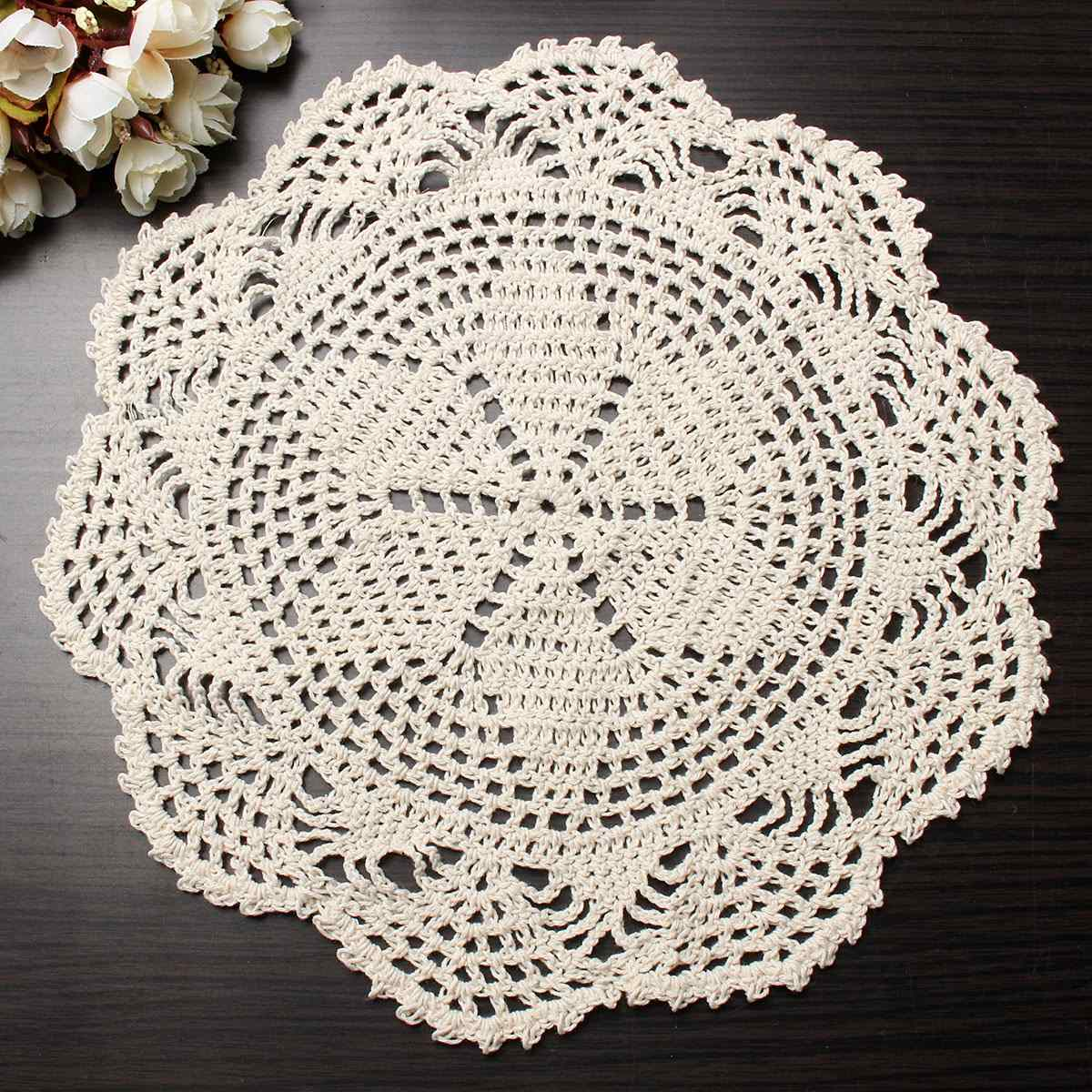 28CM Vintage Beige Crochet Lace Doily Cotton Yarn Handmade Flower Placemat Round Doilies For Wedding Home Table Decoration(China (Mainland))