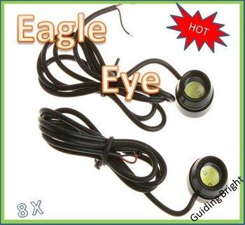 Free shipping 8pcs/lot  1.5W 12V car led reversing light eagle eye lamp Backup Stop Tail daytime running light  big eye