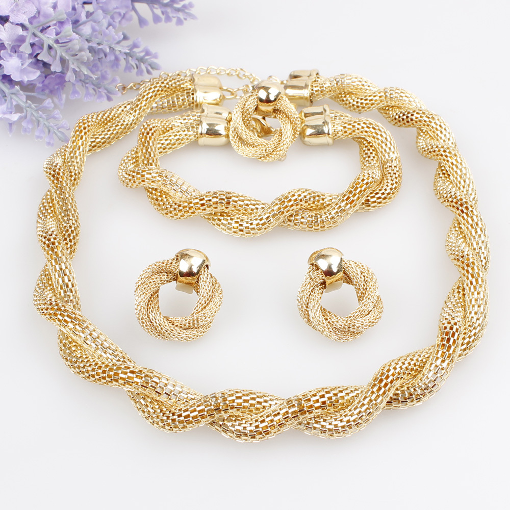 New Products Exaggerated Big Choker Necklace Vintage Chunky Statement Chain Necklace Bracelet Earrings Ring Jewelry Sets(China (Mainland))