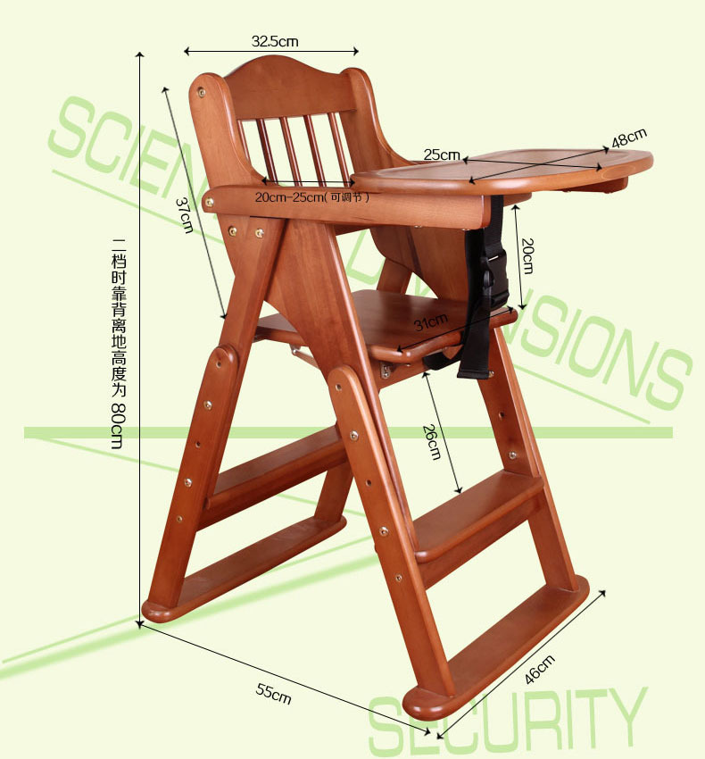 High quality 0 8 years solid wood baby folding high chair for Silla de bebe de madera