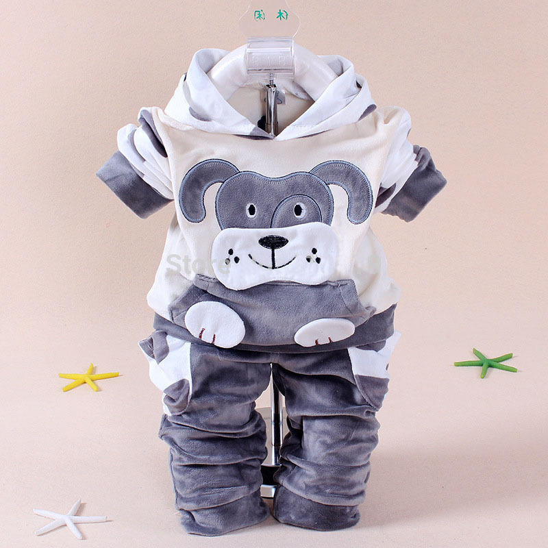 spring autumn new children set baby boy clothing sets suit cartoon dog and cow velvet hoodie sweater set kids clothes set(China (Mainland))