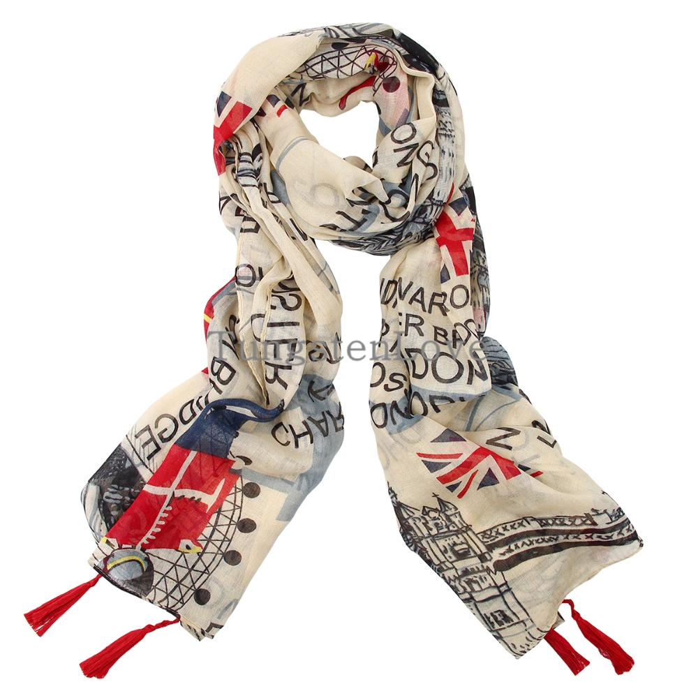 2015 Spring Winter scarf women shawl long silk cotton warm Newspaper UK Flag Print female cachecol feminino foulard femme(China (Mainland))