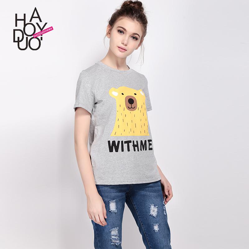 Tumblr New 2016 Cartoon Print Gray Tops Summer Style Short Sleeve T shirts Harajuku Women Fashion Kawaii T-shirt Camisetas Mujer(China (Mainland))