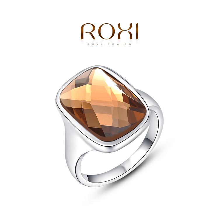 ROXI Luxury hot sale big transparent green glass stone oval Fashion Vintage style gold plated Ring(China (Mainland))
