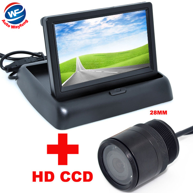 Auto Parking Assistance System 4.3 Digital TFT LCD Mirror Car Parking Monitor + 170 Degrees 28mm Car Rear view Camera(China (Mainland))