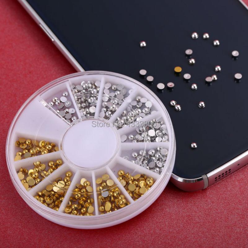 3 Color Rivets Nail Art Decoration Gold Silver Flat Back Half Round Studs(China (Mainland))