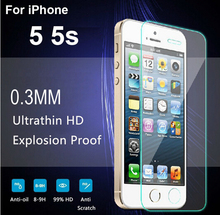 2x FOR IPHONE 5s PREMIUM TEMPERED GLASS SCREEN PROTECTOR 0.3MM 9H 2.5D TOUGHENED GLASS FOIL FOR IPHONE 5 5S FILM COVER