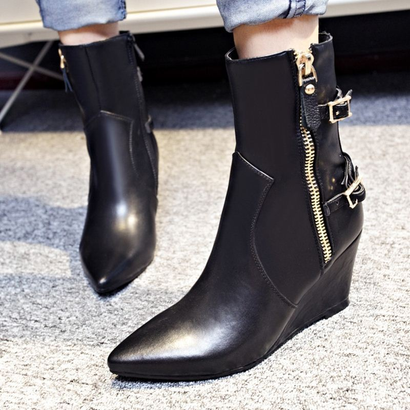western hot style ankle boots winter autumn fashion shoes women classic simple black gary buckle zipper wedges high heels<br><br>Aliexpress