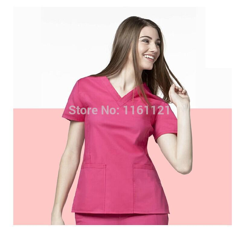 2014 women's hospital medical scrub clothes uniform set doctor 's surgical clothing for female short sleeve free shipping(China (Mainland))