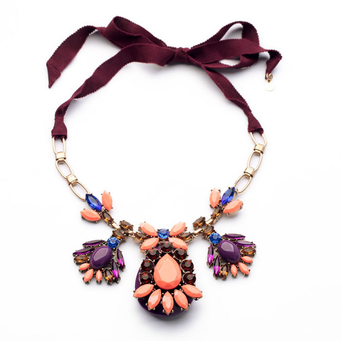 product 2014 New fashion hot selling Long ribbon flower Summer joker adorn article Color stone Mosaic