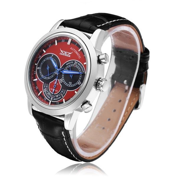 Jaragar бренд класса люкс автоматическая механическая мода красный 3 циферблат искусственная кожа мужские наручные часы мужские часы 2016 New