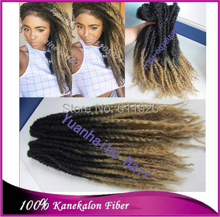 Stock! 20inch folded black/blonde cheap synthetic marley braid kinky twist braiding - YuanHaiBo Wig & Hair store