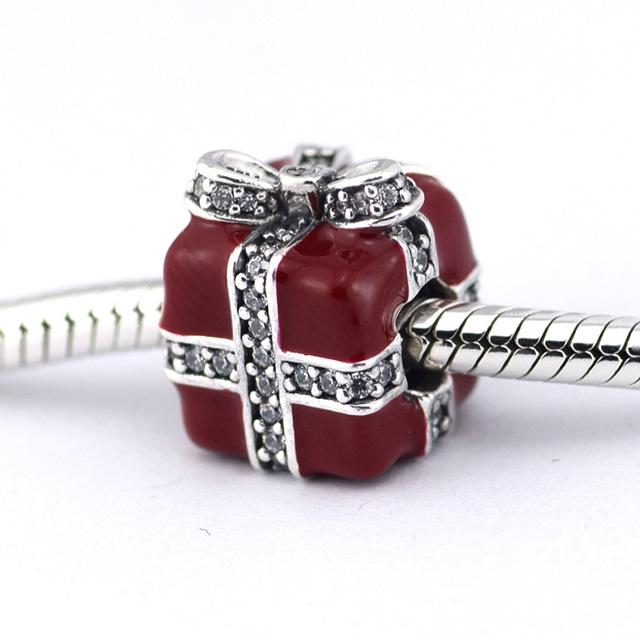 925 серебряные ювелирные изделия бусины игристое сюрприз красной эмалью проложить CZ Fit подвески пандора браслет DIY мода ювелирных изделий серебро