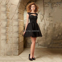 2016 New Hot Fashion Short Homecoming Dresses Cap Sleeves Sparkle Crystals Sexy Open Back Lace Black Prom Dress Puffy - Rosaamant store