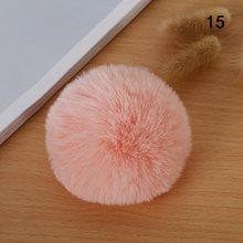 8 CM Cor Natural de Pele de Coelho Bola Pompom Fofo Linda Corrente Chave Chaveiro Chaveiro Bonito Enfeite de Pom Pom Para As Mulheres encanto do saco DIY(China)
