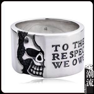 Really 925 silver vintage lucky Pure handmade acid rock skull ring for men women(China (Mainland))