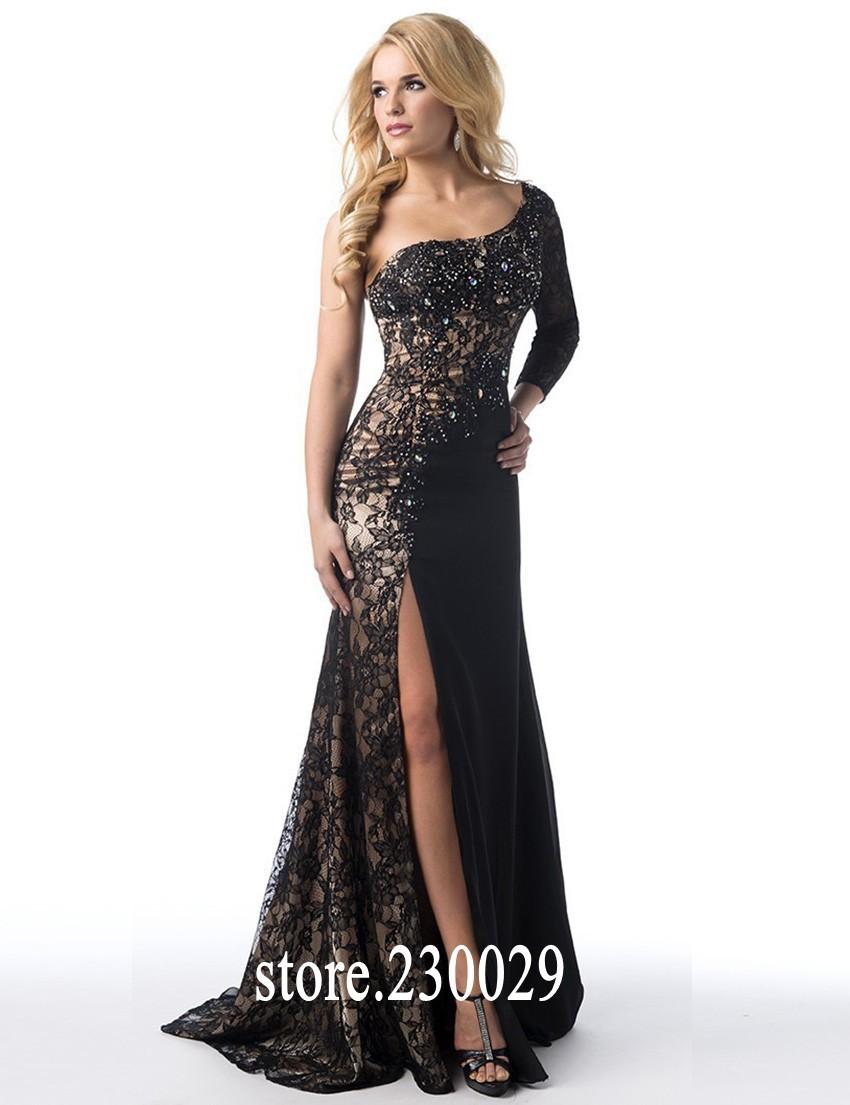 2015 sheer lace black evening dresses one shoulder beaded long sleeves