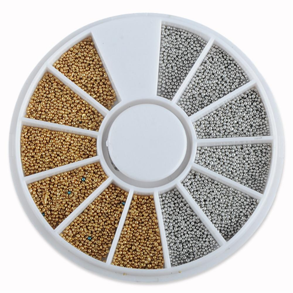 EQ8857 Silvery Golden Nail Art Caviar Beads Manicure Pedicure Make Up Decoration Wheel Nail Tool(China (Mainland))
