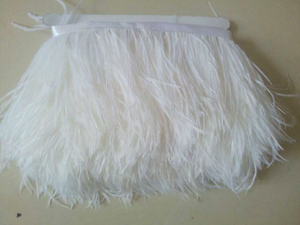 Free Shipping 10meters/lot 8-10CM Natural white Ostrich Fringe Feathers Jewelry/ Craft /Dress/ Hat Decor Ostrich Feather Trim(China (Mainland))