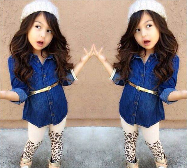children clothing set baby girls fashion cowboy tshirts+ leopard casual pants 2pc clothes set for kids cotton clothes(China (Mainland))
