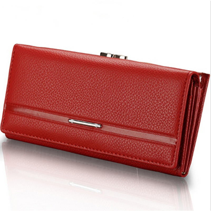 New Fashion Genuine Leather Women Wallet Solid Embossed Litchi Grain Hasp Wallets Ladies Long Clutches Coin