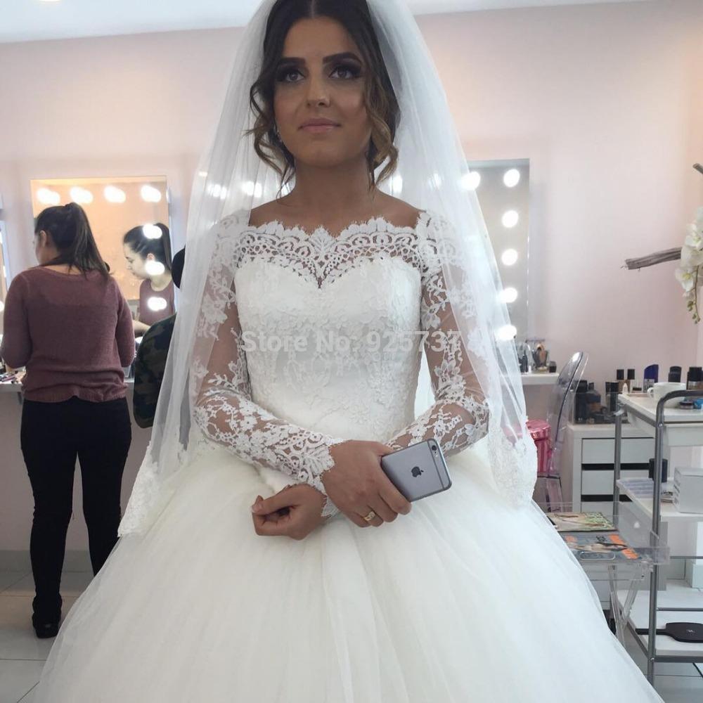 robes de mariage 2016 princess long sleeve muslim wedding. Black Bedroom Furniture Sets. Home Design Ideas