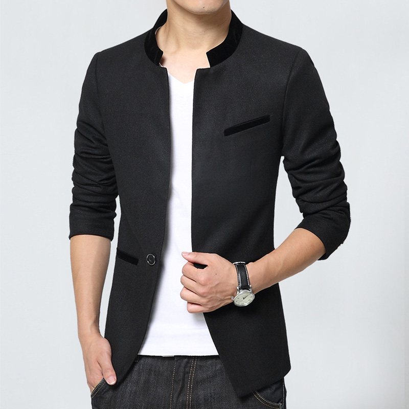 New Arrival Mens Blazer Jacket Long Sleeve Single Breasted Korean Slim Fit Patchwork Men Blazer ...