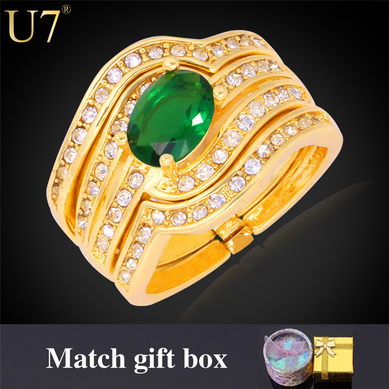 7 Colors Zirconia Ring Luxury 18K Real Gold Plated Fashion Jewelry Party Women Gift New Trendy Wedding Bridal Sets Rings U7 R322(China (Mainland))