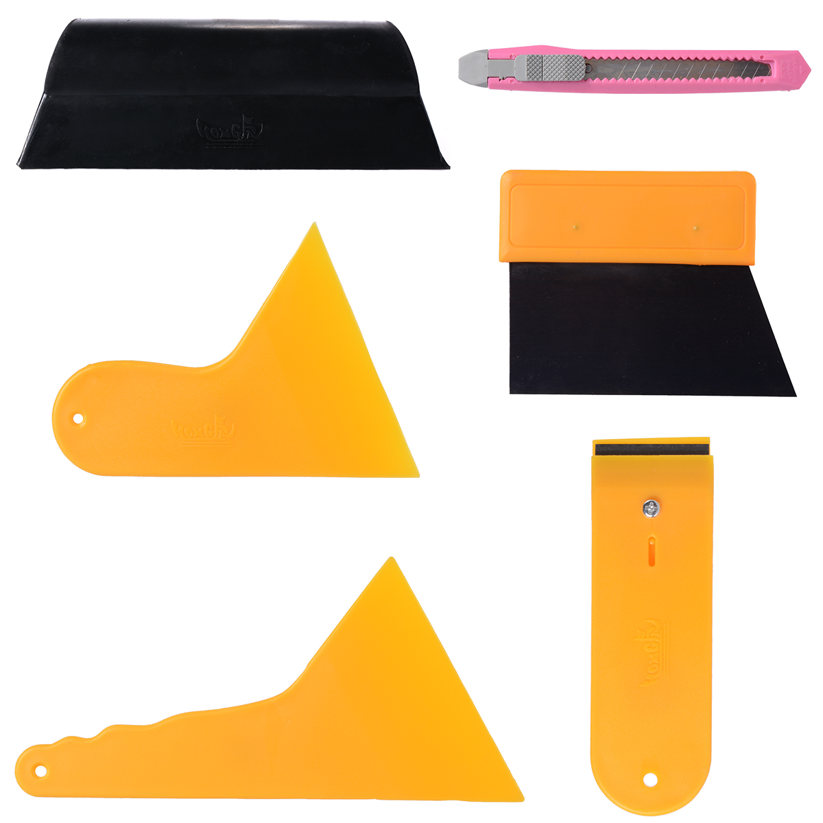 7Pcs Auto Window Scraper Wrapping Tint Vinyl Film Squeegee Cleaning Tool Kit