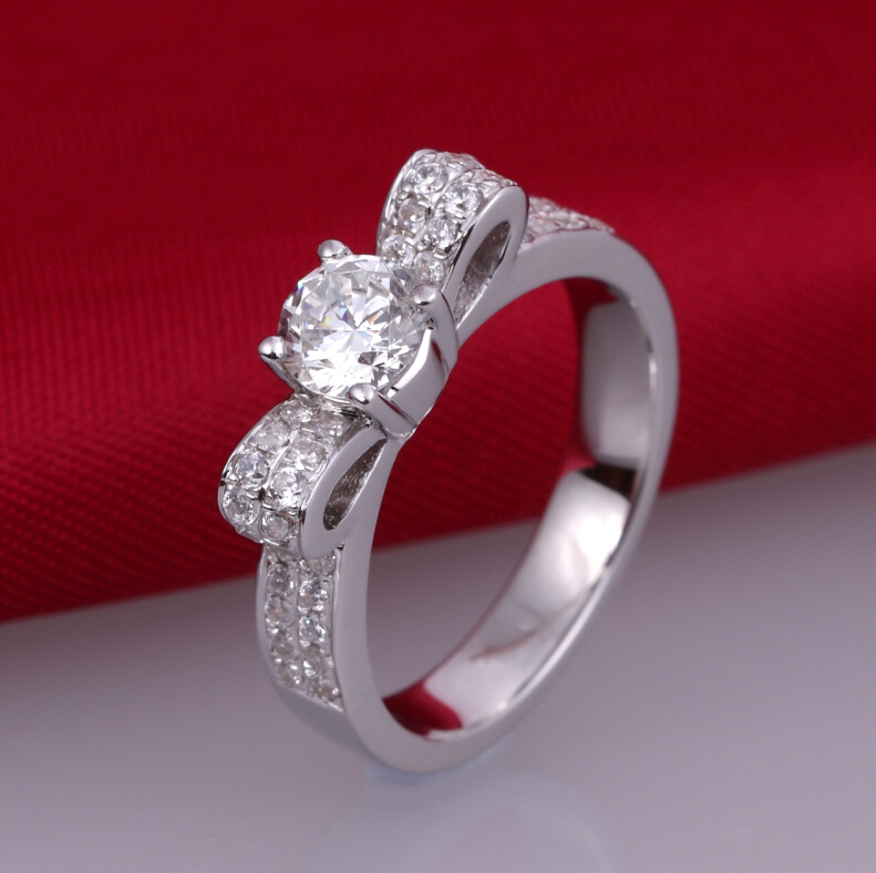 0.5 carat SONA synthetic diamond fashion ring 925 sterling silver creative bowknot ring wedding ring US size from 4 to 10.5<br><br>Aliexpress