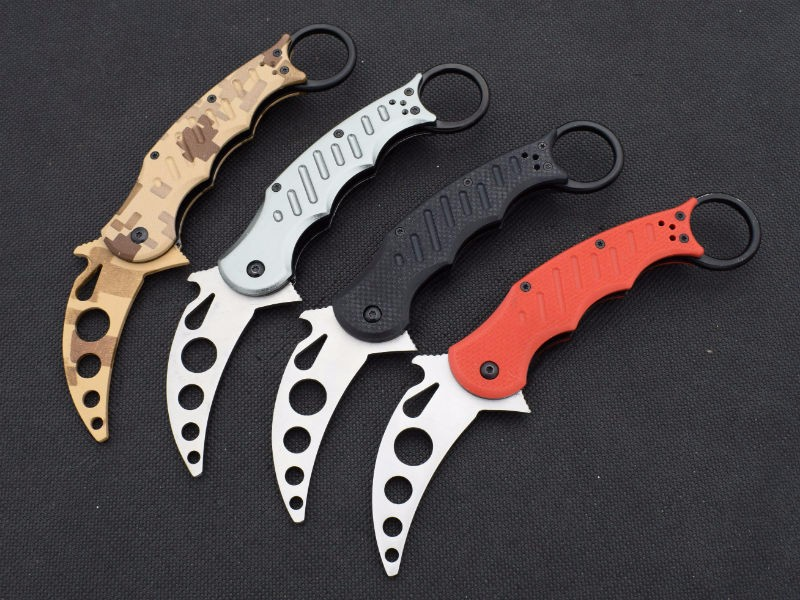 Buy New Training knife FOX Karambit Claw Knife Folding Knife 5CR13MOV Blade g10 HandleSurvival Hunting Camping Tactical Knives Tools cheap