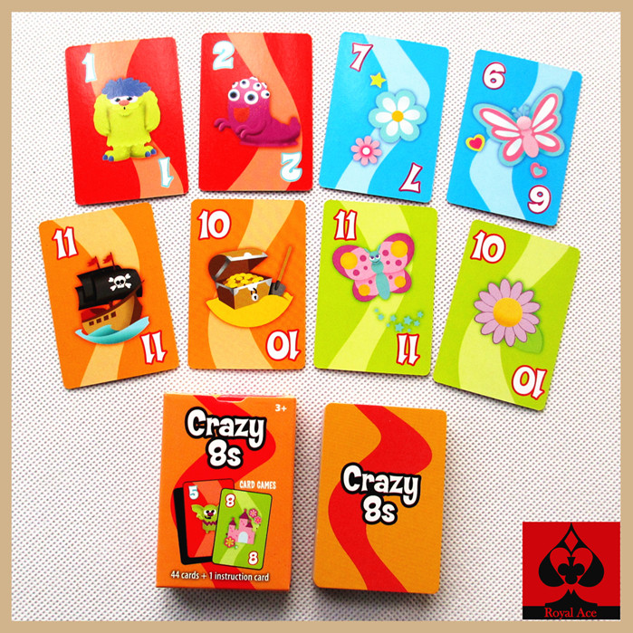 Free shipping high quality crazy 8s game cards funny board