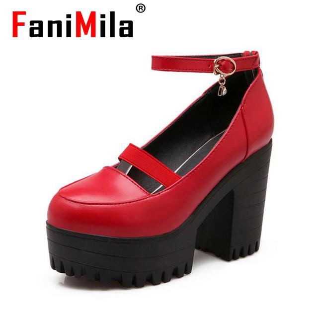 Женщины площадь высокое качество пятки пряжка повседневная мода весна каблуках обувь ...