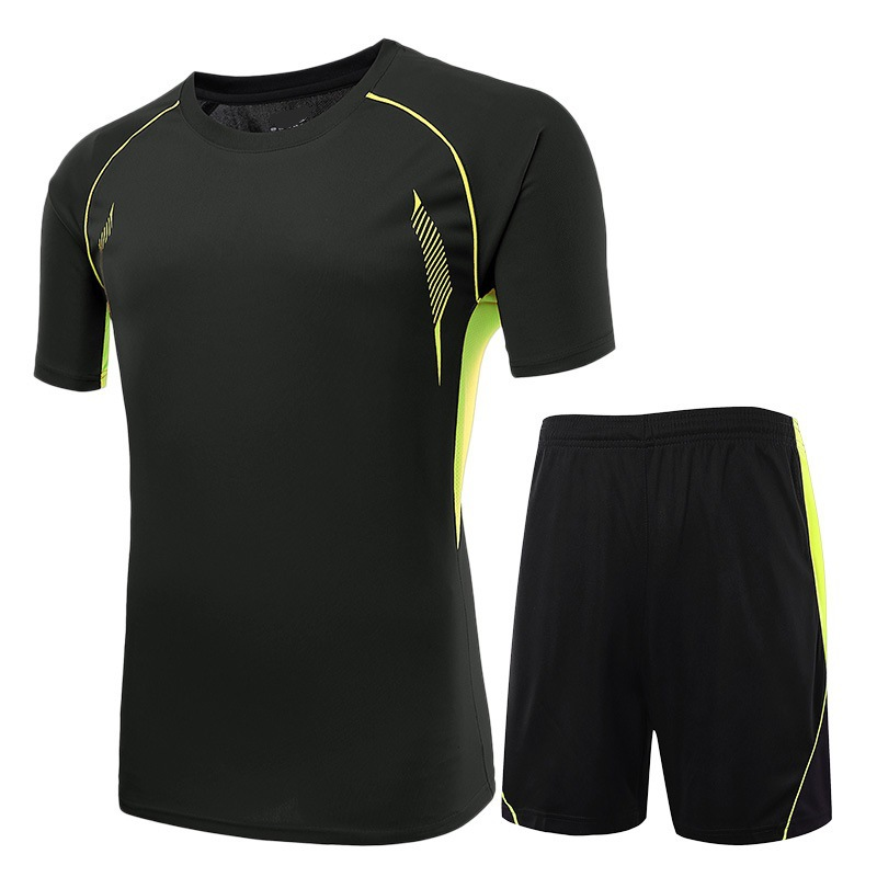 2016 new top thai black kids soccer training jersey suit survetement football men's blank team running short paintless sportwear(China (Mainland))