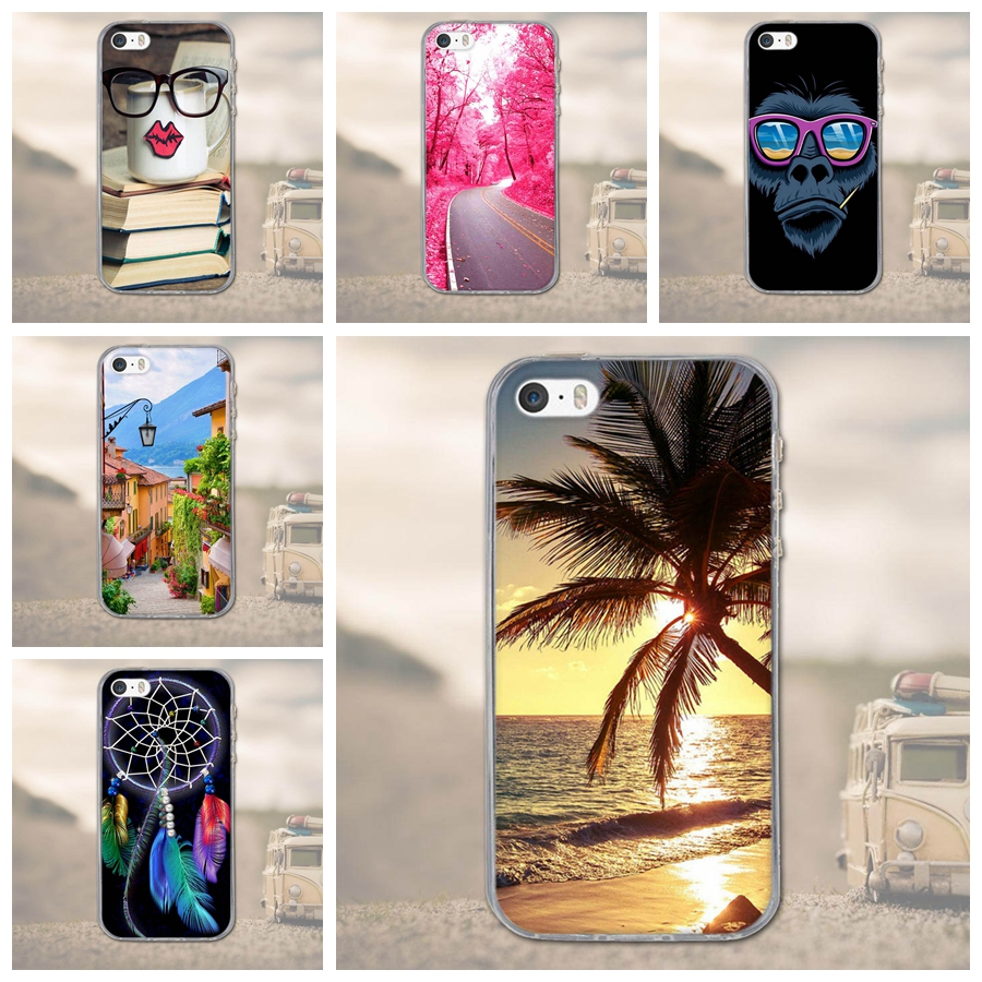 Apple iPhone 5 5S Luxury Soft TPU Silicon Rubber Case iPhone SE 3D Printed Cartoon Phone Cases Protective Back Cover