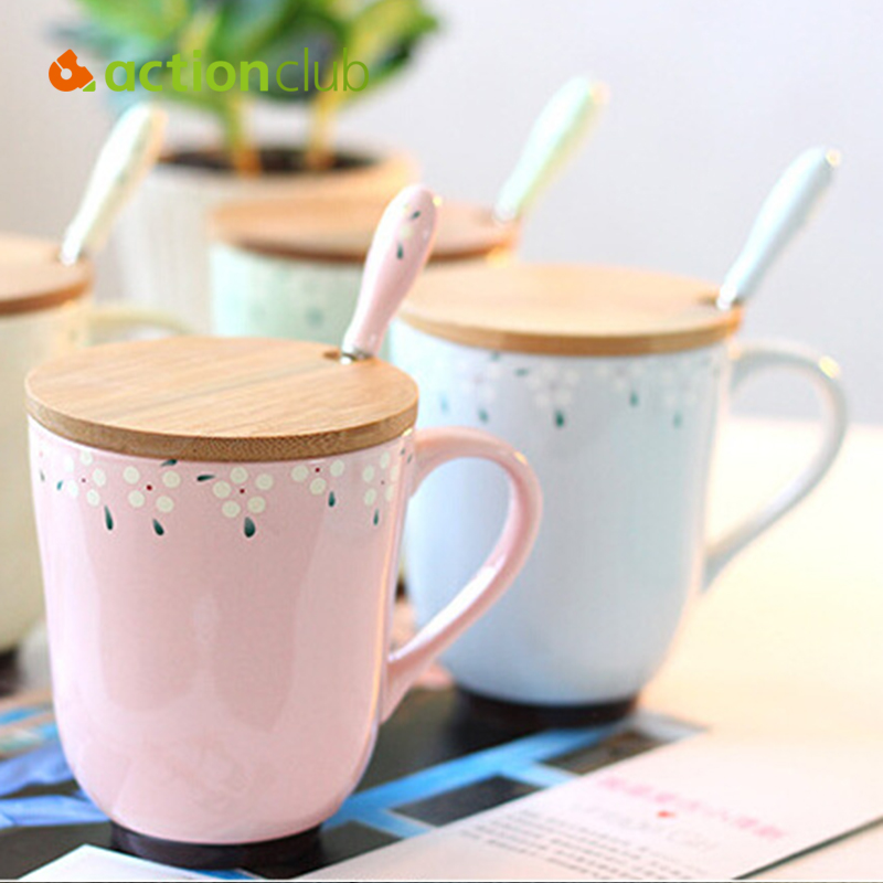 Aationclub Mugs Cups Ceramic Coffee Mugs For Home Decor Cups With Cover Spoon 2016 New Design Dust Proof Coffee Mug(China (Mainland))