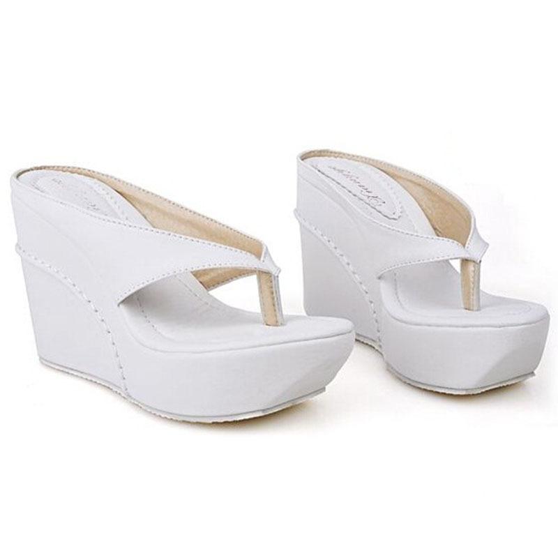 Plus Size 33-45 Hot 2015 High Heels Women Flip Flops Summer Sandals Platform Wedges Slippers Girl's Fashion Beach Shoes Slides(China (Mainland))