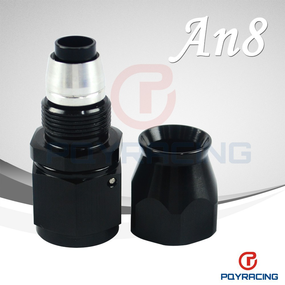 WLR STORE- Black High Quality PTEF AN8 AN-8 Straight REUSABLE SWIVEL TEFLON HOSE END FITTING AN8(China (Mainland))