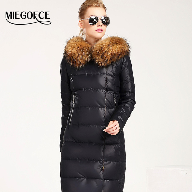 MIEGOFCE 2016 New Winter Collection Women Down Coat Jacket Warm Woman Down Parka with a Real Raccoon Fur Winter Coat Women
