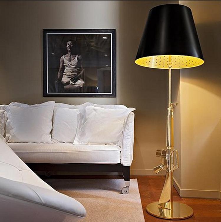 Lounge Gun Floor Lamp By Philippe Starck bedroom fashion design AK47 Gun standing light Gold Chrome(China (Mainland))