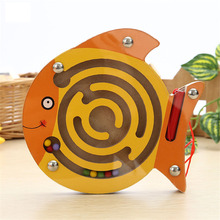 Creative pen ball magnetic maze puzzle toy animal model wooden trumpet maze to send their children Christmas gifts(China (Mainland))