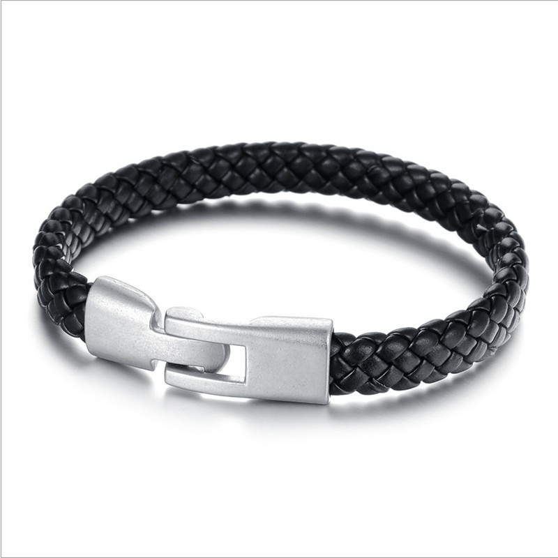 Men's Fashion Bracelet Genuine Leather Weaved Knitted Black & Bangles Wristband Jewelry Accessories PH872 - Coolcastle store