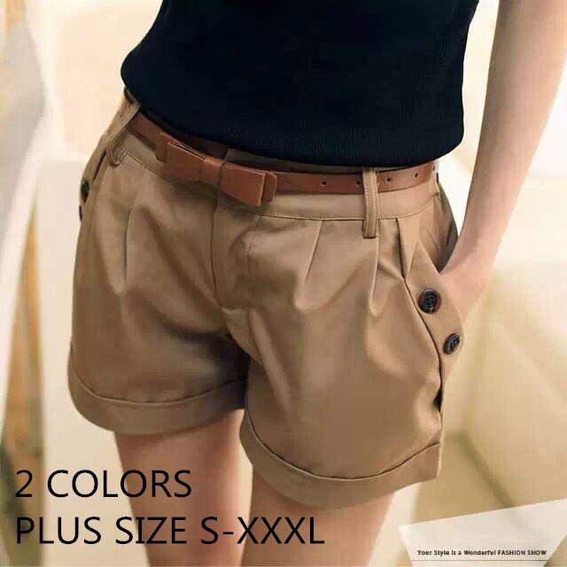 Spring Summer New 2015 Fashion Casual Navy Blue Khaki Short Feminino Pure Trousers Women Shorts Belt Women Girl Plus Size 747904(China (Mainland))