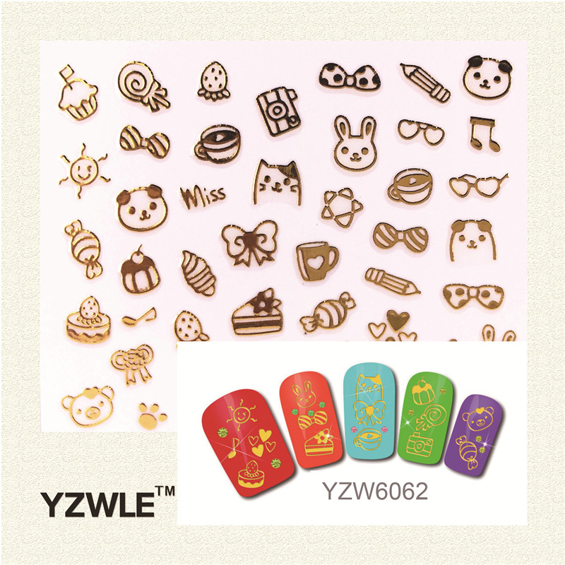 YZWLE 1 Pc 3D DIY Golden cartoon images Fashion Nail Sticker For 2016 New Sticker(China (Mainland))