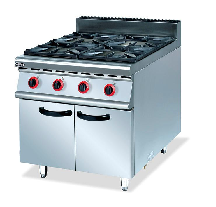 Commercial super quality stainless steel gas 4 burners range with cabinet kitchen gas cooking equipment(China (Mainland))