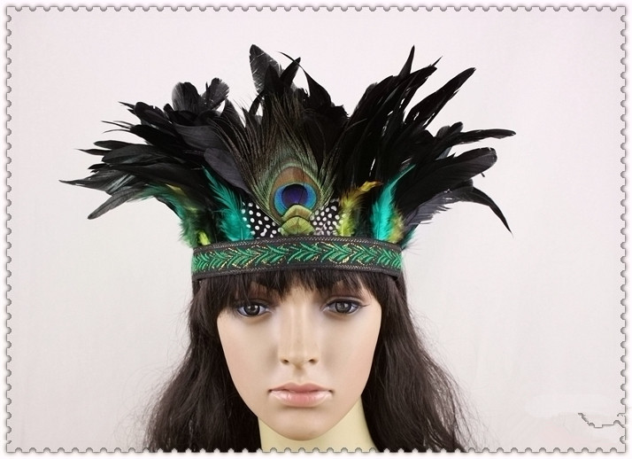 The new style of original Indian tribal chiefs national wind peacock feather headdress hair accessories headband hair bands(China (Mainland))