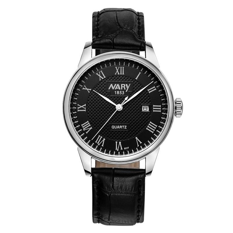 Роскошные NARY Марка Часы Мужчины Часы Кожаный Ремешок Мода Наручные Часы Высокого класса Бизнес Кварцевые Часы Часы Relogio Masculino
