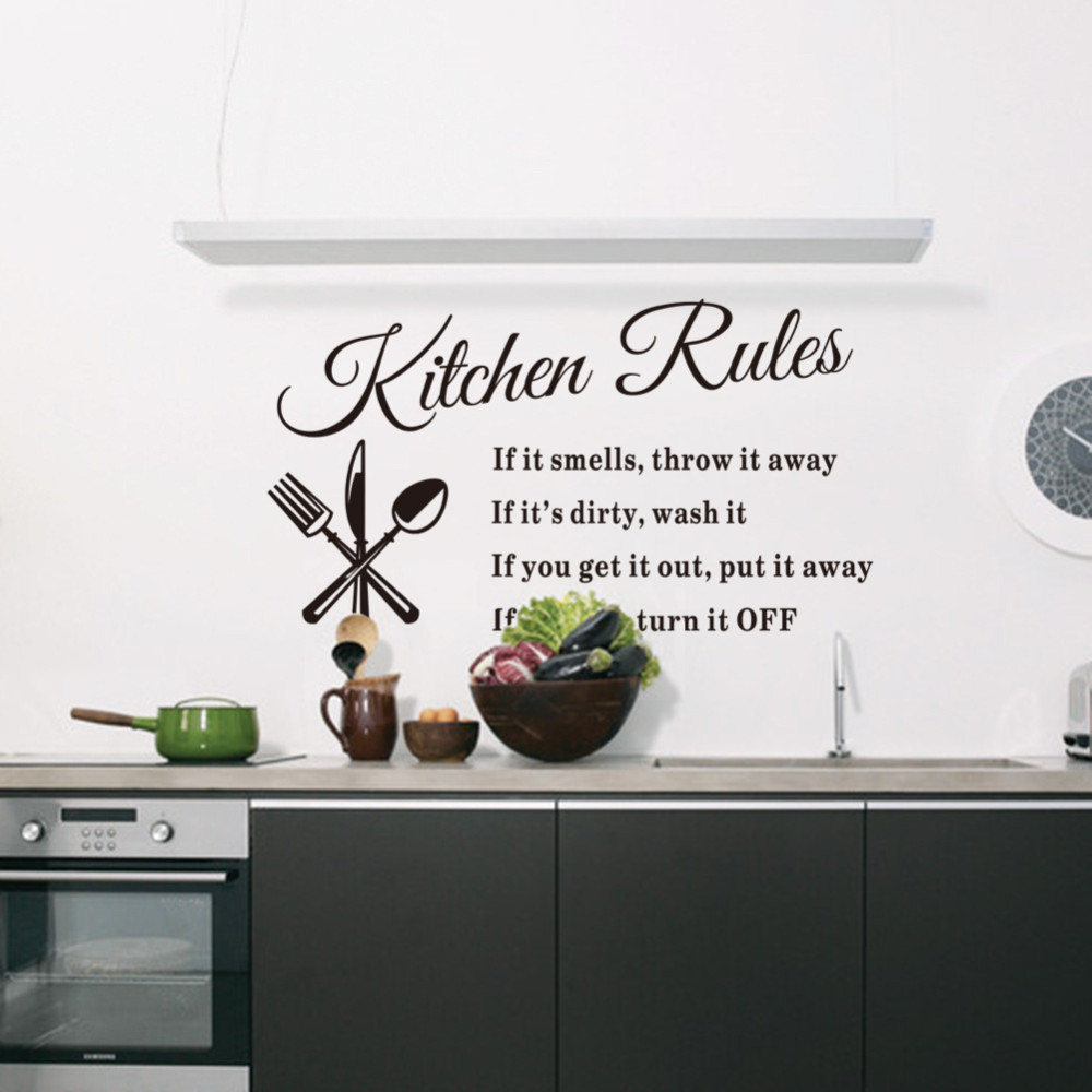 Buy house rules art words graphics pvc wall sticker wallpaper 8010 ...