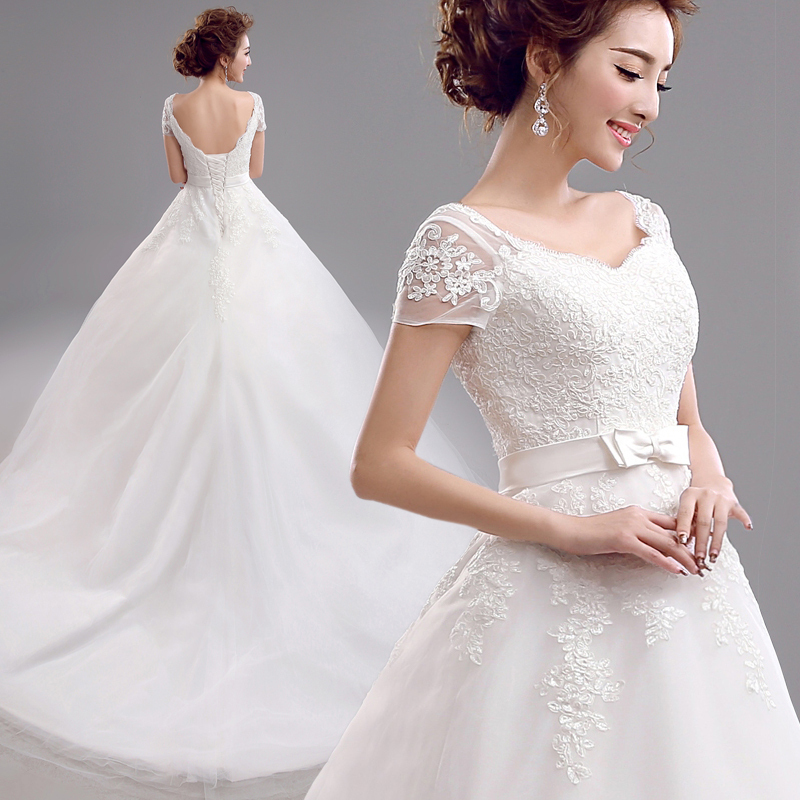 2016 Free Shipping Short Front Long Back Tail Lace Wedding Dress Sleeve Vestidos Sexy Plus Size Vintage Belt Ball Gown Casamento(China (Mainland))
