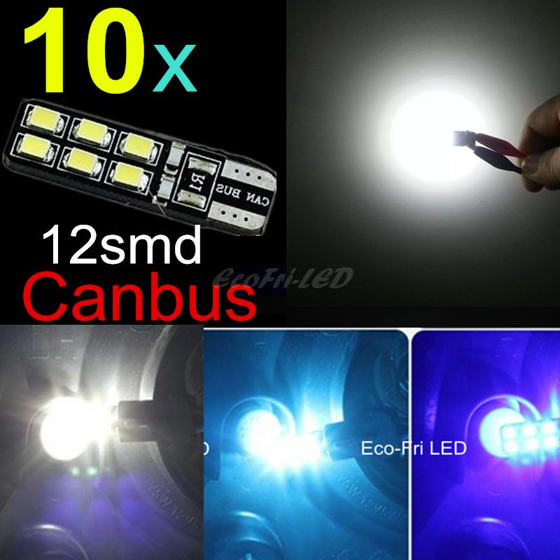10pcs White Ice Blue CANBUS T10 LED 12SMD 2835 Led W5W Error Free 12V Wedge Led Rear Lamp Car Light Source Parking Light(China (Mainland))